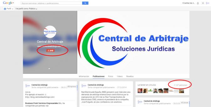 Cuenta en Google+ de Central de Arbitraje